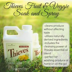 Thieves Fruit & Veggie Soak and Spray - cleans produce without affecting taste Essential Oils Detox, Thieves Essential Oil, Young Living Essential Oils, Essential Oil Blends, Fruit Veggie Wash, Oils For Life, Young Living Thieves, Organic Living, Natural Living