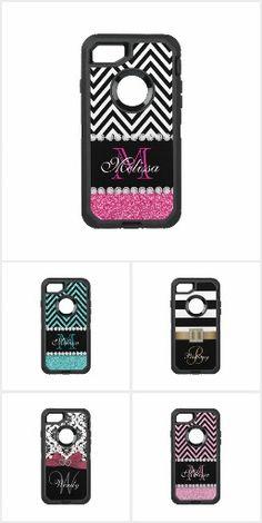 Trending iPhone 7 Cases - monogram, monogrammed, stripe, stripes, striped, zigzag, zig zag, chevron, damask, ribbon, girly, trendy, elegant, modern, glitter, polka dot, polka dots, dot, dots, circle, circles, diamond, diamonds, bling, blingy