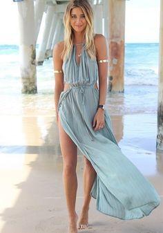 Blue Plain Sleeveless Maxi Dress - Maxi Dresses - Dresses