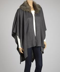 Take a look at this Gray Faux Fur Collar Shawl by Shana-K on #zulily today!