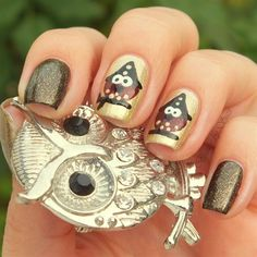 Owl Witch by BeautyBySuzi Nail Art Gallery nailartgallery.na by Nails Magaz Owl Witch by BeautyBySuzi Nail Art Gallery nailartgallery.na by Nails Magaz Spring Nail Trends, Nail Designs Spring, Cute Nail Designs, Spring Nails, Owl Nail Art, Owl Nails, Matte Nail Art, Minion Nails, Witch Nails