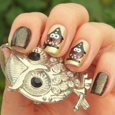 Owl Witch by BeautyBySuzi - Nail Art Gallery http://nailartgallery.na... by Nails Magazine http://www.nailsmag.com #nailart