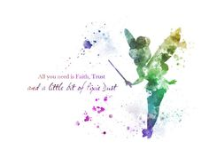 Tinker Bell Quote ART PRINT illustration, Disney, Wall Art, Home Decor, Nursery, Fairy, Peter Pan