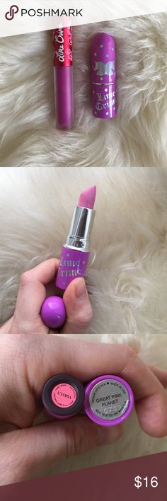 Lime Crime Bundle Lime Crime bundle including Matte Velvetine liquid lipstick in 'Utopia' and Unicorn lipstick in 'Great Pink Planet.' Gently used (once or twice each). Unicorn lipstick has been sanitized. Lime Crime Makeup Lipstick