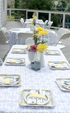Purple, Yellow & Gray Baby Shower - Outside Tables   PartiesforPennies.com