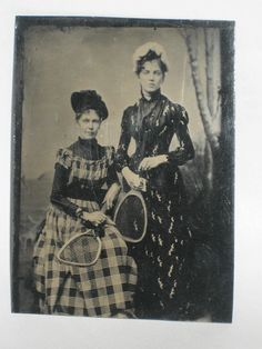 RARE ANTIQUE PHOTOGRAPH TINTYPE SISTERS WITH TENNIS RACKETS