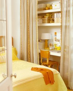 yellow -  I like the desk/storage space to make the most of this small area.