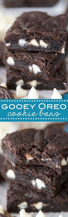 Gooey Oreo Cookie Bars - easy homemade Oreo cookies in bar form filled with gooey white chocolate and chopped Oreos!