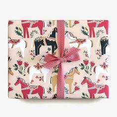 Swedish Dala Horse Christmas Wrapping Paper
