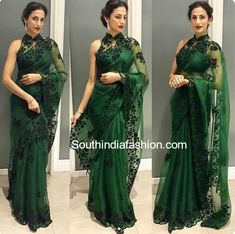 4 Ways of doing fringe the desi way Sarees Organza saree green color ki saree - Green Things Indian Fashion Trends, Indian Designer Outfits, Indian Dresses, Indian Outfits, Indian Saris, Anarkali, Lehenga, Organza Saree, Lace Saree