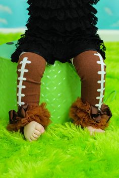 Football  Leg Warmers Baby Outfit  leggings pants with tulle ruffles Broncos Seahawks on Etsy, $10.95