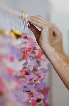 Punch, thread, and assemble! The only steps for creating this beautiful garland backdrop. Make your next big bash a hit with this fun spring idea. Backdrop Decorations, Diy Backdrop, Diy Party Decorations, Diy Party Garland, Holiday Banner, Brunch Party, Craftwork Cards, Throw A Party, Backdrops For Parties