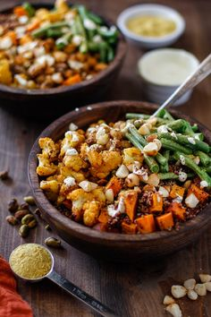 Roasted Vegetable Quinoa Bowls with Toasted Macadamia Nuts and Cashew Cream…