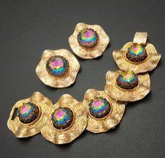 Signed Judy Lee Vintage Set Bracelet Earrings Watermelon Glass Rhinestones N87 | eBay