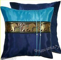 2 Thai Silk Elephant Decorative Cushion Pillow Covers Blue