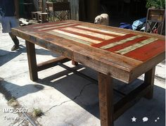 Chunky multi colored dining table