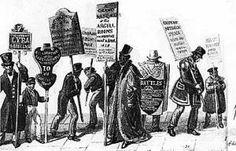 Hombres sándwich en Londres, en el siglo XIX, ilustración de George Scharf
