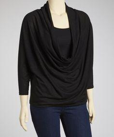 ff64cd6c8d9 Poliana Plus Black Drape Top - Plus. Size ...