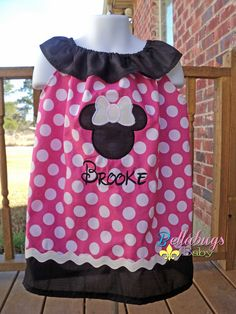 Hot Pink Minnie Mouse Ruffled Neckline Dress - Sizes 0-3 through 6Y - Personalized