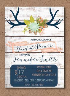 bd281da9dead Antler Bridal Shower Invitation Boho White Wood by LittleLouLous Printable  Baby Shower Invitations