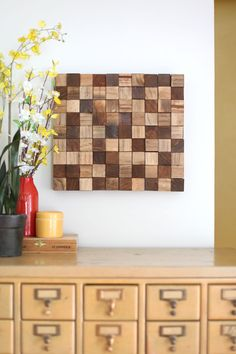 Wooden Mosaic Wall Art DIY - A BEAUTIFUL MESS - simple project & doesn't require any power tools
