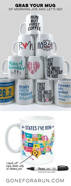 Grab your mug of morning Joe and let's go run. With so many great mugs to choose from, you may want to start a collection! Makes a great gift for your running partners, running friends and for a commemoration of those milestone accomplishments.