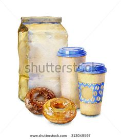 Watercolor image of a set of different objects: paper bag, cup of coffee and donuts. - stock photo