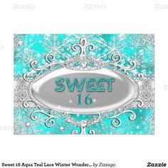 Sweet 16 Aqua Teal Lace Winter Wonderland 5x7 Paper Invitation Card
