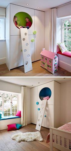 Современный детский интерьер: шкаф с матами вместо полок