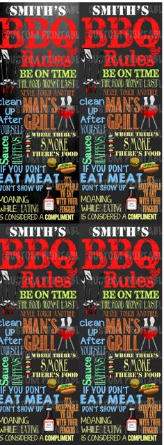 Custom chalkboard BBQ Sign - Perfect for fathers day!  Personalize this chalkboard bbq grill sign for him however you want!