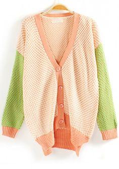 Pink Polka Dot Color Block V-neck Blend Cardigan
