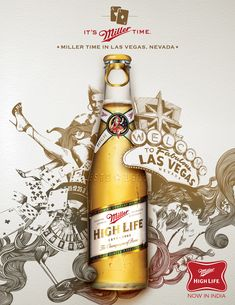Miller beer ad. Like the combination of photo and illustration on this one.