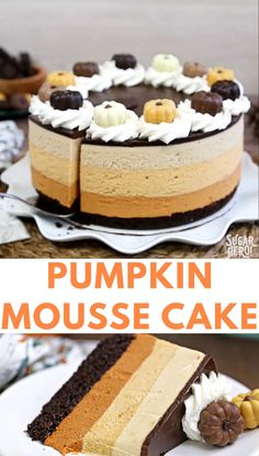 This Pumpkin Chocolate Mousse Cake is a stunning dessert with chocolate cake cinnamon mousse pumpkin-butterscotch mousse and salted caramel mousse Finished with a layer of shiny chocolate ganache and whipped cream it s a total show stopper From Thanksgiving Desserts, Fall Desserts, Just Desserts, Delicious Desserts, Dessert Recipes, Cheesecake Recipes, Food Cakes, Cupcake Cakes, Mini Cupcakes