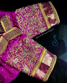 Never Seen Before Heavy Work Silk Saree Blouses are Here Wedding Saree Blouse Designs, Pattu Saree Blouse Designs, Fancy Blouse Designs, Wedding Sarees, Hand Work Blouse Design, Maggam Work Designs, Bollywood, Designer Blouse Patterns, Indie