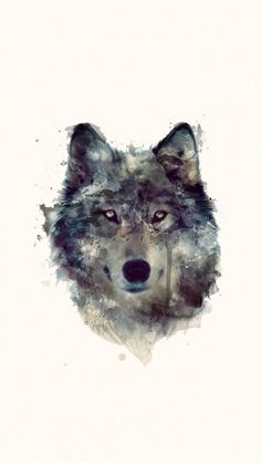Wolf Artwork Illustration #iPhone5 #Wallpaper I wonder if mums watercolour painting is goo enough to try something like this now?