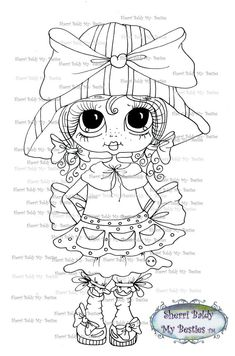 INSTANT DOWMLOAD Digital Digi Stamps Big Eye Big Head Dolls Digi  My Besties IMG049 By Sherri Baldy