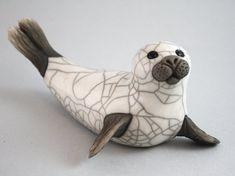 Seal ceramic raku fired handmade sculpture by 247gallery on Etsy, $65.00