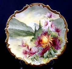 "Limoges France Plaque Charger Plate Chrysanthemums Artist Signed 15 1/2"" #PorcelainLimogesFrance"