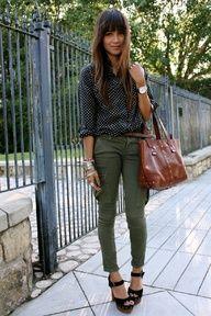 • polka dot top, green army pants •