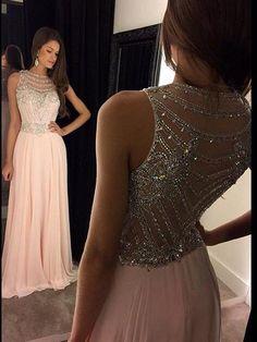 A-Line/Princess Scoop Sleeveless Chiffon Crystal Sweep/Brush Train Dresses