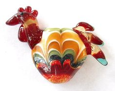 Handmade+red+glass+lampwork+beads+rooster+pendant+by+glassbead,+$22.00