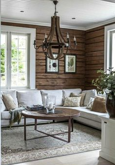 Log home interior - Living Room Color Trends A Touch Of Yellow For Summer – Log home interior Modern Cabin Interior, Cabin Interior Design, Modern Cabin Decor, Design Hotel, Log Home Interiors, Cottage Interiors, Home Living Room, Living Room Decor, Living Spaces