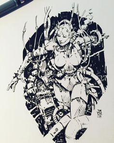 Ink Pen Drawings, Cool Drawings, Ink Illustrations, Illustration Art, Character Art, Character Design, Robot Art, Robots, Cyberpunk Art