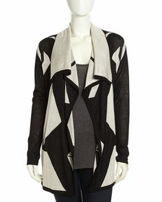 Geometric-Print Open-Front Peaked Cardigan, Black/White by Neiman Marcus at Neiman Marcus Last Call.