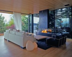 Modern Long House Steeply Clever Mixing Rocks Design Ideas 			» black fireplace modern living interior strong characteristic