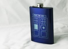 Tardis Flask inspired by Doctor Who 8 oz. Blue Stainless Steel Laser Engraved Flask via Etsy