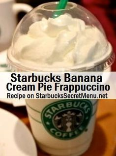 banana cream pie frappuccino - had a guest order it and i tried it myself and ughhh need to remember Banana Cream Pie in a Starbucks Cup! Frappuccino Recipe, Starbucks Frappuccino, Starbucks Cup, Banana Drinks, Smoothie Drinks, Smoothies, Coffee Drinks, Iced Coffee, Coffee Cafe