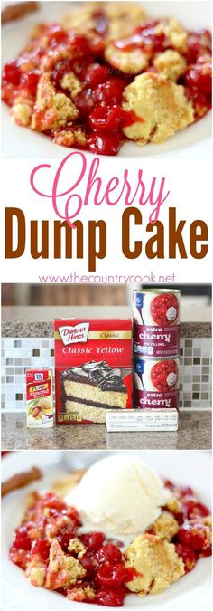 Cherry Dump Cake recipe from The Country Cook – only 4 ingredients! One of my ab… Cherry Dump Cake recipe from The Country Cook – only 4 ingredients! One of my absolutely favorites. Can be done in the crock pot too! Cherry Desserts, Köstliche Desserts, Delicious Desserts, Dessert Recipes, Cherry Dump Cakes, Cherry Recipes Dinner, Fruit Cake Recipes, Cherry Pie Filling Desserts, Easy Fall Desserts