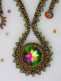 Vitrail Crystal Amulet Beaded Necklace in Greens and Pinks   GaiasJewels - Jewelry on ArtFire