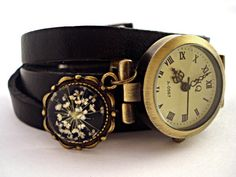 WrapWatch with Real Dried Flowers - BLACK